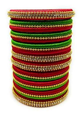 """Kepler Fashion Red And Parrot Green Silk Thread Bangle Set For Girls Ans Women """"Pack Of 10Pcs"""""""