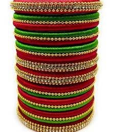 "Kepler Fashion Red And Parrot Green Silk Thread Bangle Set For Girls Ans Women ""Pack Of 10Pcs"""