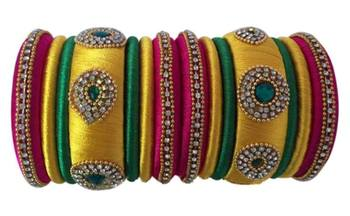 "Handmade Silk Thread Bangle Set For Girls And Women ""Pack Of 14Pcs"""