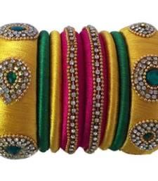 "Handmade Silk Thread Bangle Set For Girls And Women ""Pack Of 14Pcs"""