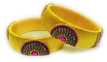 "partywear and stylish yellow silk thread bangle set for girls and women ""pack of 2pcs"""