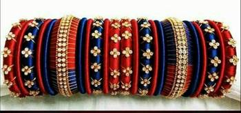 """Bridal Multi Colour Silk Thread Bangle Set For Girls And Women """"Pack  Of 22Pcs"""""""