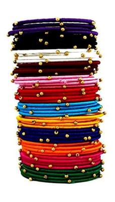 "Silk Thread Elegant Multi Colour Bangle Set ""Pack Of 48""."