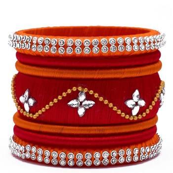 "Kepler Fashion Handmade Silk Thread Bangle Set For Girls And Women ""Pack  Of 7Pcs"""