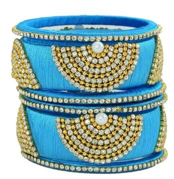 """Bridal Sky Blue Silk Thread Bangle Set For Girls And Women """"Pack Of 6Pcs"""""""