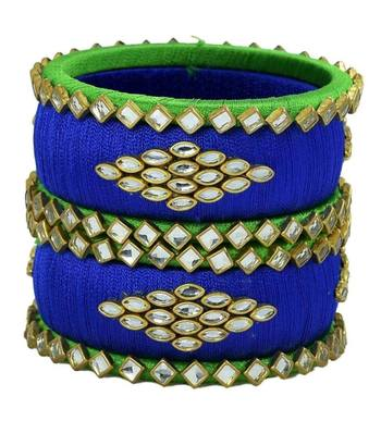 "Elegant And Stylish Silk Thread Bangle Set For Girls And Women ""Pack Of 6Pcs"""