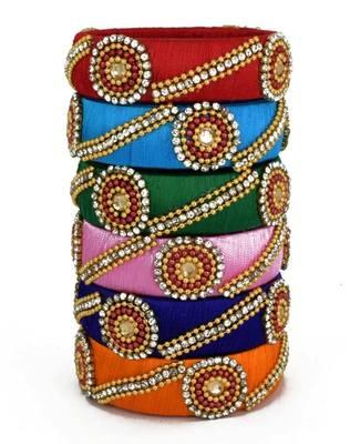 "Kepler Fashion Silk Thread Bangle Set For Girls And Women ""Pack Of 6Pcs"""
