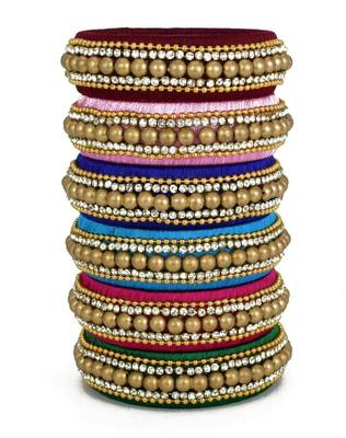 """Multi Colour Silk Thread Bangle Set For Girls And Women """"Pack Of 6"""""""