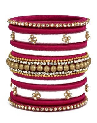 "Multi Colour Handmade Silk Thread Bangle Set For Girls And Women ""Pack Of 11"""