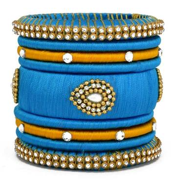"""Partywear And Stylish Sky Blue Silk Thread Bangle Set For Girls And Women Pack Of 9Pcs"""""""