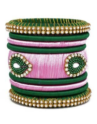"Elegant And Stylish Silk Thread Bangle Set For Girls And Women ""Pack Of 9Pcs"""
