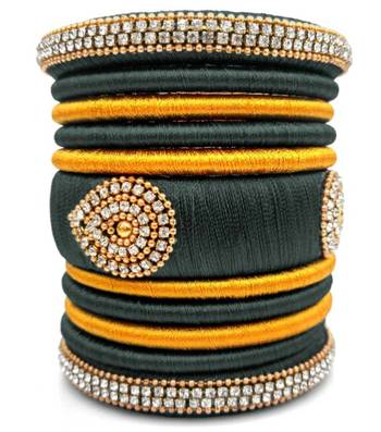 "Festival  And Partwear Multi Colour Silk Thread Bangle  Set For Girls And Women ""Pack Of 11Pcs"""