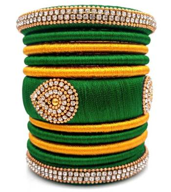 """Festival  And Partwear Multi Colour Silk Thread Bangle  Set For Girls And Women """"Pack Of 11Pcs"""""""