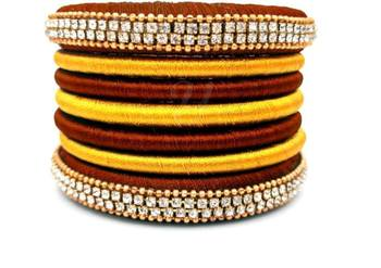"Handimade  Multi Colour Silk Thread Bangle Set For Partwear And Occasion For Girls And Women ""Pack Of 7Pcs"""