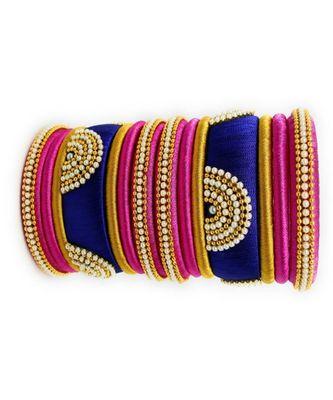 "Stylish And Elegant Silk Thread Bangle Set For Festival "" Pack Of 14"""