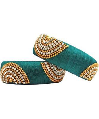 "Kepler Fashion Sky Blue Silk Thread Bangle Set For Girls And Women ""Pack Of 2"""