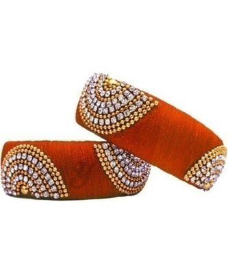 """Partywear Silk Thread Bangle Set With Orange Colour For Girls Ans Women """"Pack Of 2Pcs"""""""