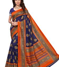 Navy blue printed bhagalpuri saree with blouse