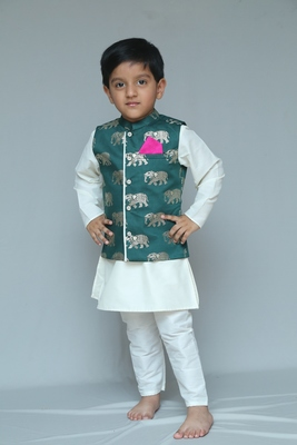 Green printed cotton silk boys kurta pyjama