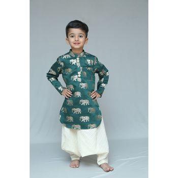 Green printed cotton silk boys dhoti kurta