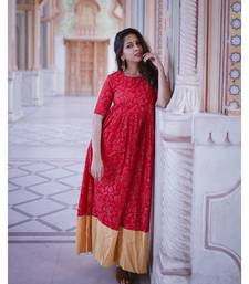RED AND CREAM KURTA SET