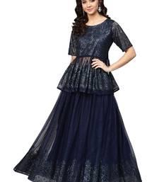 Navy-blue printed net kurti
