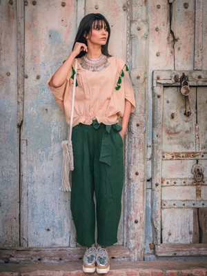 Fantasy Green Casual Ankle Length Waist Tie up Pant Pair