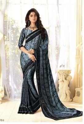 Grey plain satin saree with blouse
