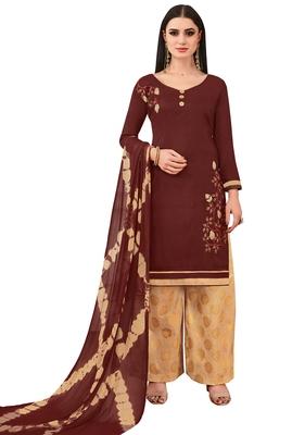 Brown Banarasi Cotton Embroidered Jacquard Bottom palazzo