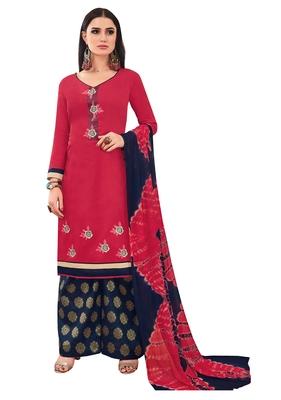 Pink Banarasi Cotton Embroidered Jacquard palazzo Bottom