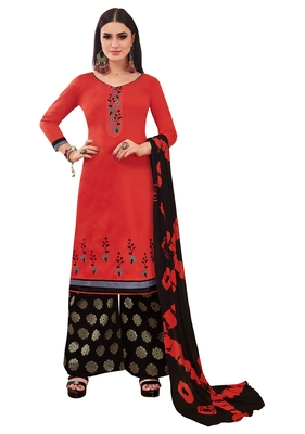 Light Red Banarasi Cotton Embroidered Jacquard palazzo Bottom