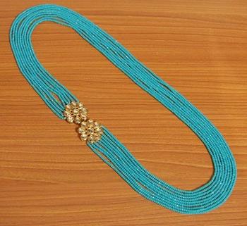 Turquoise Kundan Meenakari Multi Layered Necklace