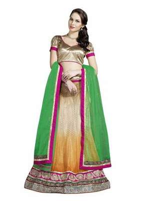 Yellow ,  Brown ,  Green embroidered georgette unstitched lehenga with dupatta