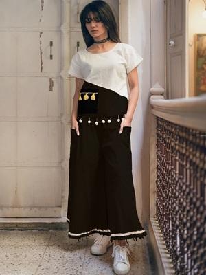 Fantasy  Black  Raw Edge Skirt Pant  Pair
