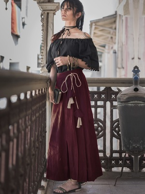Fantasy Wine  One Side Pleated Skirt Pant Combo With Jute Hangings