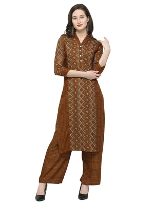 Brown Printed Rayon Kurta Sets