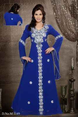 royal-blue georgette embroidered zari_work islamic-kaftans