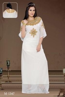 Off White Georgette Embroidered Zari_Work Islamic-Kaftans