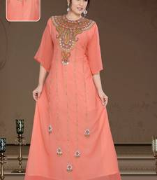 coral georgette embroidered zari_work islamic-kaftans