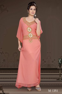 Coral Georgette Embroidered Zari_Work Islamic-Kaftans