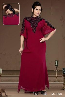 Burgundy Georgette Embroidered Zari_Work Islamic-Kaftans