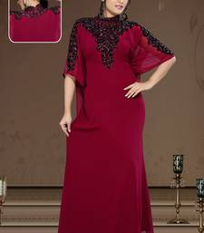 Burgundy Georgette Embroidered Zari_Work Islamic-Kaftans