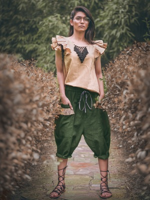 Low Crotch Military Green Baggy Pant With Beige Top