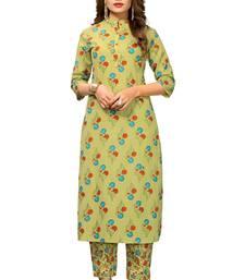 Light-green printed cotton long kurti