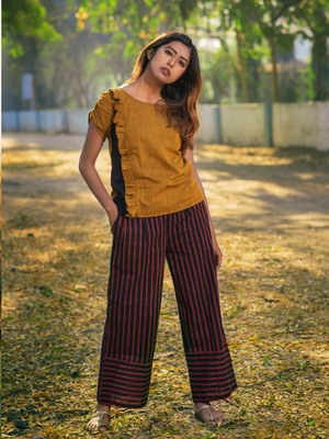 Mustard Top And Deep Wine Lining Pant Khadi Pair