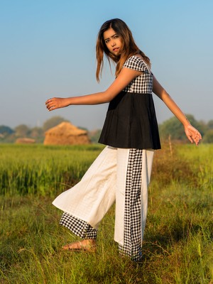 Khadi Checks Two Layered Pant and Black Top Pair