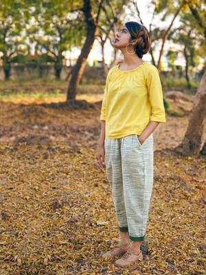 Cool Lemon Khadi Top And Slub Khadi Casual Pants