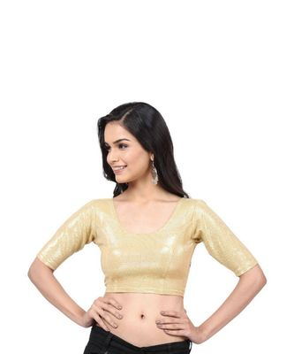 Gold Lycra Shimmer Stretchable Readymade Blouse for Women