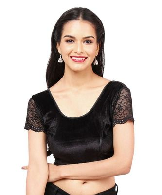 Black Velvet Stretchable Readymade Blouse For Women