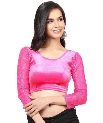 Pink Velvet Stretchable Readymade Blouse for Women